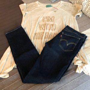 Levi's 007 Straight Leg Dark Wash Vintage Jeans 28